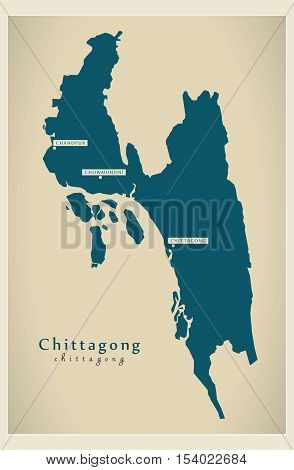 Modern Map - Chittagong BD Bangladesh illustration vector