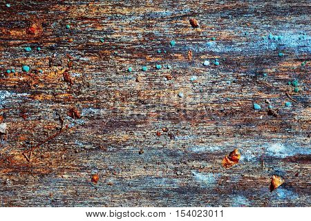 weathered wood. dirty old board - after exposure to rain snow and dirt adhering