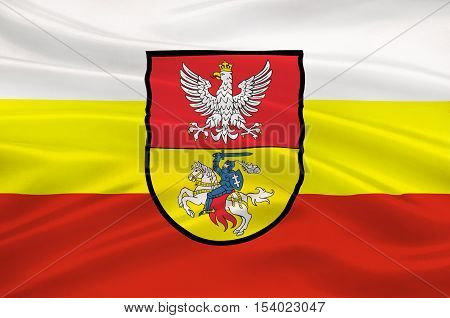Flag of Bialystok in Podlaskie Voivodeship in northeastern Poland. 3d illustration