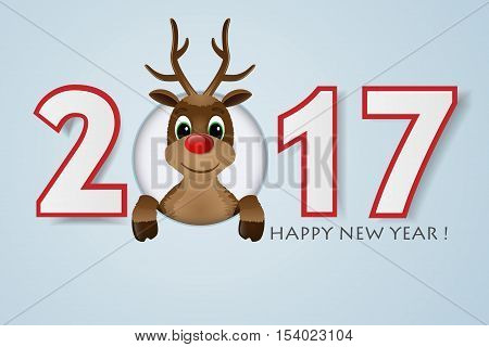 2017 Happy New Year background. Reindeer with red nose. Vector illustration.