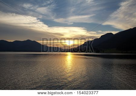 Sunset at Wolfgangsee / The evening scenery of sunset at Wolfgang mountain lake in Austria.