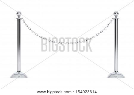 Closeup Chain Barrier Stand on a white background. 3d Rendering