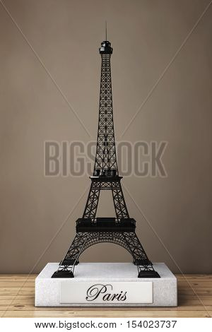 Eiffel Tower Statue on a wooden table. 3d Rendering