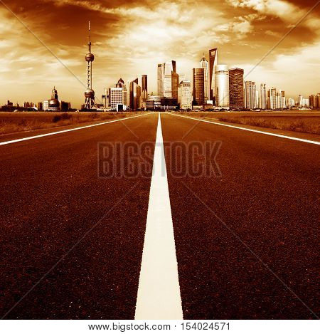 Expressway leading to the city's skyscrapers, urban fantasy landscape, exaggerated expression.