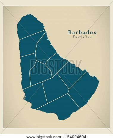 Modern Map - Barbados with parishes BB illustration vector