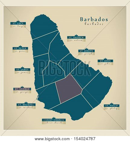 Modern Map - Barbados with detailed parishes BB illustration vector