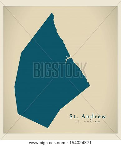 Modern Map - St. Andrew BB Barbados illustration vector