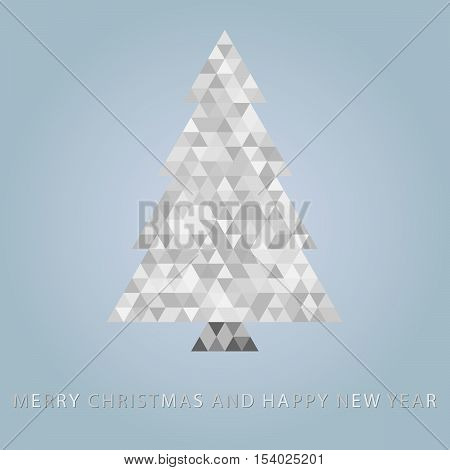Abstract christmas tree filled by triangles on bright blue background
