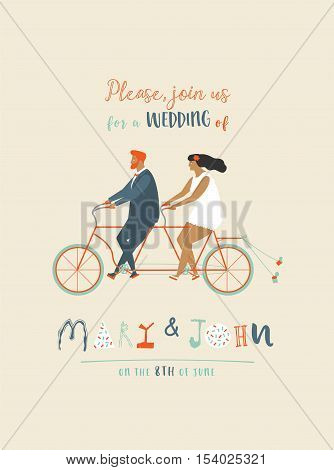 Wedding invitation with groom and bride riding tandem bicycle. Cute newlyweds riding a bike, going to honeymoon. Cartoon newly married couple. Save the date card.