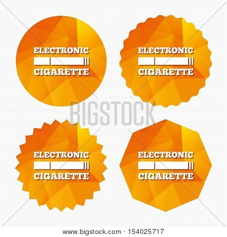Smoking sign icon. E-Cigarette symbol. Electronic cigarette. Triangular low poly buttons with flat icon. Vector
