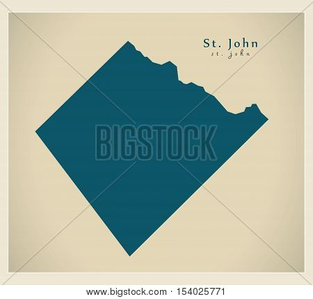 Modern Map - St. John BB Barbados illustration vector