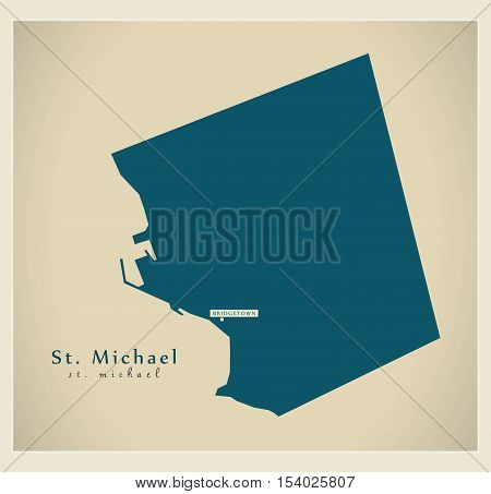 Modern Map - St. Michael BB Barbados illustration vector