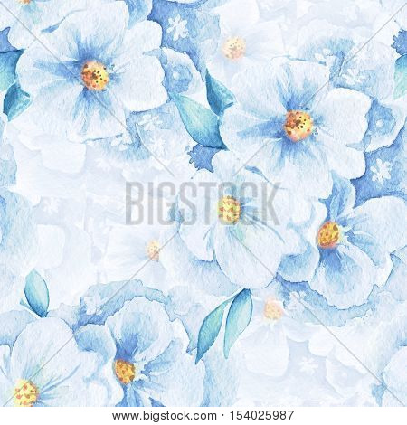 Delicate flowers. Seamless floral pattern. Watercolor background 1