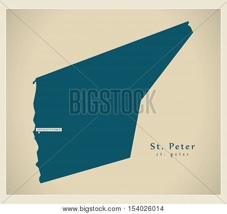 Modern Map - St. Peter BB Barbados illustration vector