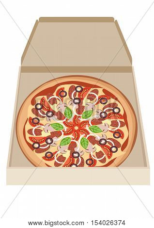 pizza with tomatoes sausage mushrooms cheese basil olives onions in a box