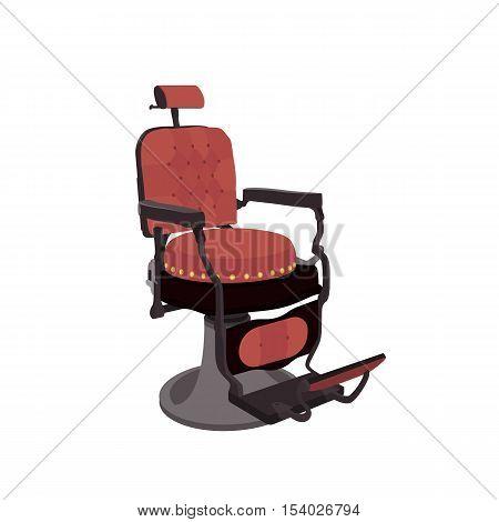 Flat Vector Illustration of a Vintage Barber Chair