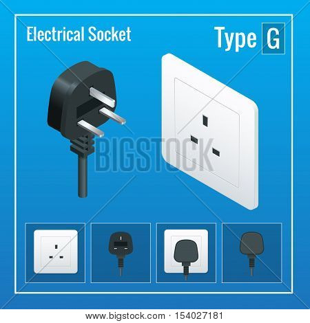 Isometric Switches and sockets set. Type G. AC power sockets realistic illustration. Power outlet and socket isolated. Plug socket