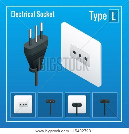 Isometric Switches and sockets set. Type L. AC power sockets realistic illustration. Power outlet and socket isolated. Plug socket