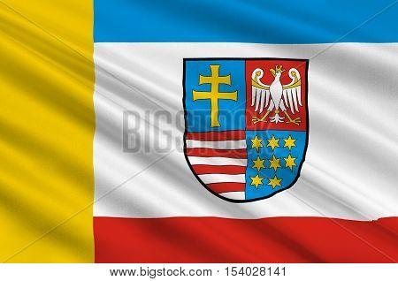 Flag of Swietokrzyskie Voivodeship Swietokrzyskie Province or Holy Cross Province in central Poland. 3d illustration