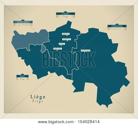 Modern Map - Liege BE Belgium illustration vector