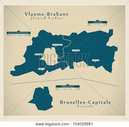 Modern Map - Vlaams-Brabant & Bruxelles-Capitale Belgium illustration vector