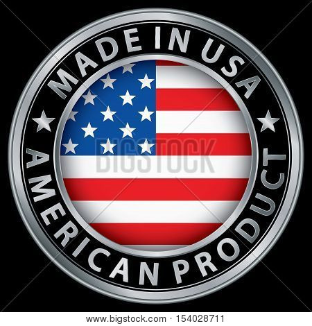 Made In The Usa American Product Silver Label With Flag, Vector Illustration