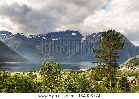 Village Urke at the dramatic Hjorundfjord, Norway