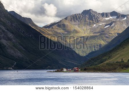 Dramatic landscape at the Hjorundfjord, Fjordland, Norway