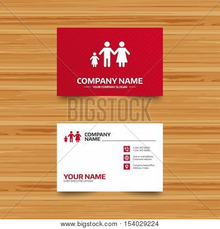 Business card template. Family with one child sign icon. Complete family symbol. Phone, globe and pointer icons. Visiting card design. Vector
