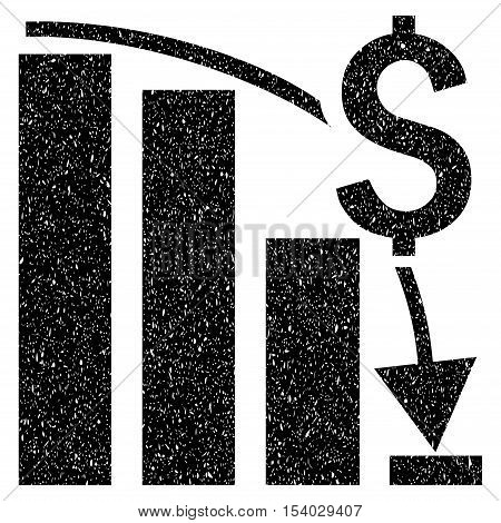 Financial Crisis Bar Chart Trend grainy textured icon for overlay watermark stamps. Flat symbol with dirty texture. Dotted glyph black ink rubber seal stamp with grunge design on a white background.