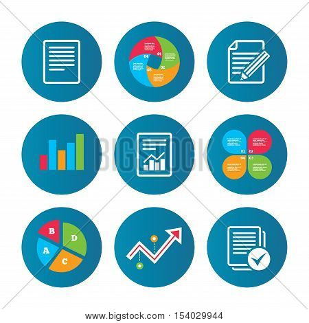 Business pie chart. Growth curve. Presentation buttons. File document icons. Document with chart or graph symbol. Edit content with pencil sign. Select file with checkbox. Data analysis. Vector