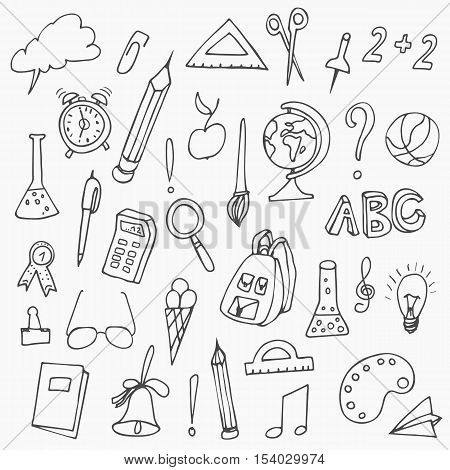 Hand drawn back to school doodles. Vector illustration of school supplies. Back to School. Hand drawn back to school doodles. Vector illustration.
