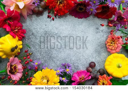 Autumn flowers frame, place for text. Top view