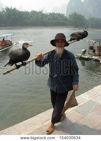 YANGSHUO, GUANGXI PROVINCE, CHINA - OCTOBER 07, 2013 - Portrait of an unidentified old chinese fisherman with two cormorants nearby Li river
