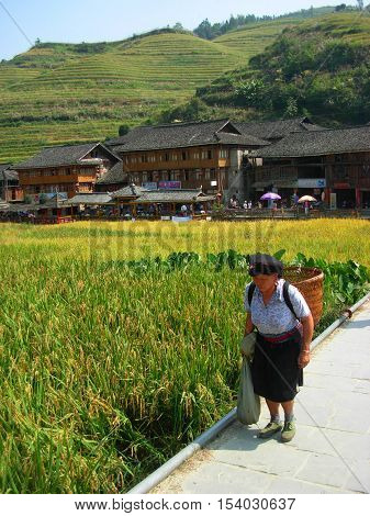 GUILIN, GUANGXI PROVINCE, CHINA - OCTOBER 04, 2013 - Old woman of Yao minority with rice terraces on the background inside Dazhai village