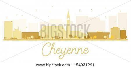 Cheyenne City skyline golden silhouette. Simple flat concept for tourism presentation, banner, placard or web site. Business travel concept. Cityscape with landmarks