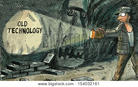 Color illustration of an explorer in a cave seeing 'old technology'.