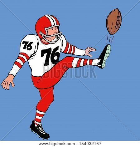Color sports illustration of a kicker kicking a football.