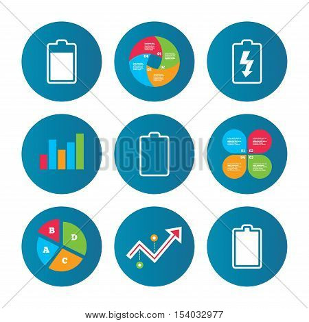 Business pie chart. Growth curve. Presentation buttons. Battery charging icons. Electricity signs symbols. Charge levels: full, empty. Data analysis. Vector