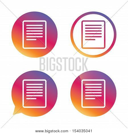 Text file sign icon. File document symbol. Gradient buttons with flat icon. Speech bubble sign. Vector