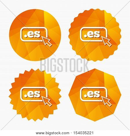 Domain ES sign icon. Top-level internet domain symbol with cursor pointer. Triangular low poly buttons with flat icon. Vector