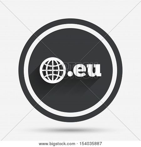 Domain EU sign icon. Top-level internet domain symbol with globe. Circle flat button with shadow and border. Vector