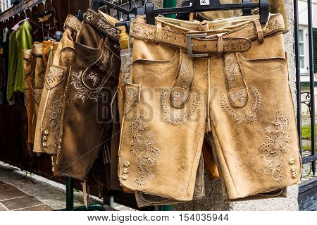 Traditional austrian and bavarian lederhosen (leather pants) for sale in St.Gilgen Austria
