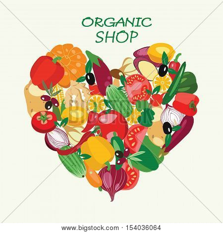 Heart shape by organic fresh healthy vegetables. Vegetables made in flat style each one is isolated for easy use healthy eat concept.