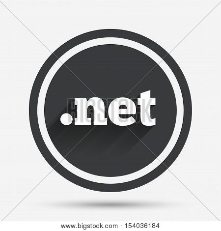 Domain NET sign icon. Top-level internet domain symbol. Circle flat button with shadow and border. Vector