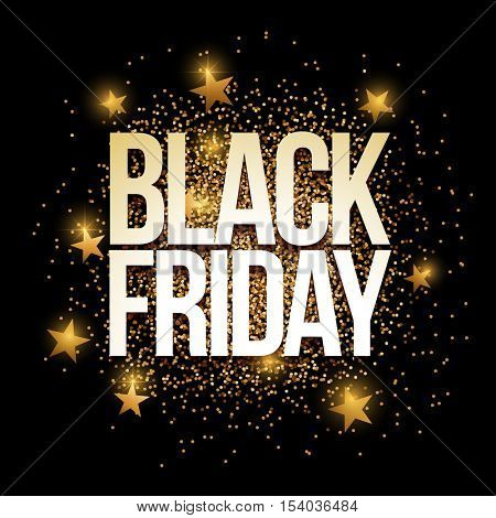 Black Friday banner with gold glitter. Vector illustration. Elements are layered separately in vector file.