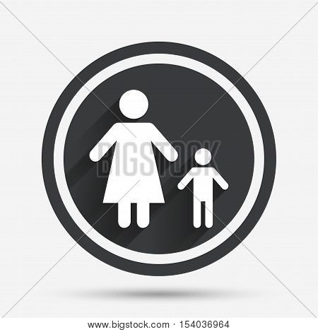 One-parent family with one child sign icon. Mother with son symbol. Circle flat button with shadow and border. Vector