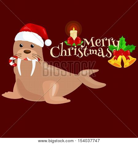 Christmas walrus in a cap and with a candy in your mouth is and enjoys in the New Year's Eve and Christmas and waiting for their gifts for the winter holidays vector illustration.