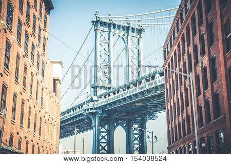 View of Manhattan Bridge from Washington Street New York