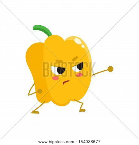 Ripe yellow bell pepper wrestling, cartoon vector illustration isolated on white background. Cute and focused bell pepper character wrestling or fighting, doing sport, fitness motivation for kids